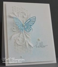 embossing paste on the stencil, spray mist (mixed tempting turquoise re-inker and a few drops of Shimmer paint, plus rubbing alcohol in my mister), Stamping with Loll Hand Made Greeting Cards, Making Greeting Cards, Greeting Cards Handmade, Bird Cards, Butterfly Cards, Birthday Cards For Women, Embossed Cards, Beautiful Handmade Cards, Friendship Cards