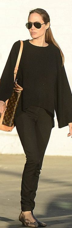 Purse – Louis Vuitton Shoes – Lanvin similar style sweaters Carrie Bradshaw, Brad And Angie, Angelina Jolie Style, Louis Vuitton, Fashion Beauty, Womens Fashion, Hollywood Celebrities, Autumn Winter Fashion, Videos