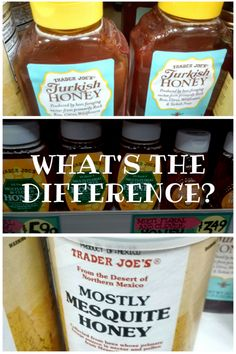 Trader Joe's honey selection includes mesquite honey, multi floral and clover honey, and Turkish honey. Is the honey found at Trader Joe's real honey? Types Of Honey, Real Honey, Trader Joe's, Deserts, Jar, Recipes, Shopping, Food, Desserts