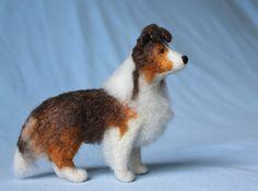 A custom Sheltie needle-felted pet portrait by Fiber Friends