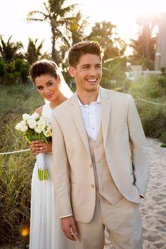 New 2016 Beige Men Suits Beach Wedding Tuxedos For Men Custom Made Mens Wedding Suits Groom Suit Groom Tuxedo Bridegroom