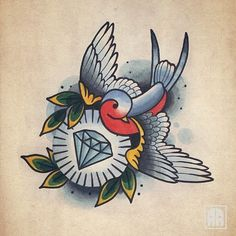 Swallow bird sketch tattoo ideas 64 New Ideas Future Tattoos, Traditional Diamond Tattoo, Sleeve Tattoos, Traditional Tattoo Art, Swallow Tattoo, Tattoo Sketches, Ink Tattoo, Tattoo Designs