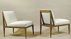 Pair of Egyptian inspired oak slipper chairs by Marc du Plantier, 1952 (Galerie Anne-Sophie Duval, Paris) - Picmia