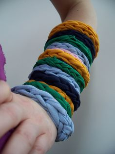 Bracelets made with the sleeves and tops of shirts left after making the t-shirt scarves