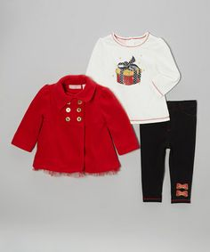 Take a look at this Red Military Jacket Set - Infant & Girls by Kids Headquarters on #zulily today!
