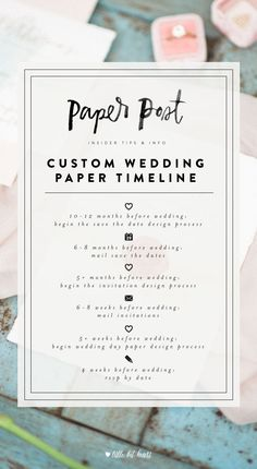 Custom wedding paper timeline- from save the dates to wedding invitations to the wedding day paper, find out when to start and send! #wedding