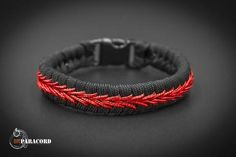 Slim Firefighter Thin Red Line Stitched Fishtail Paracord Bracelet.