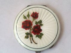 Fine English Sterling Silver & Guilloche Enamel Hand Painted Powder Compact