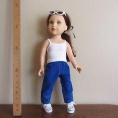 Pantalon en toile bleue, brodé compatible poupées journey girls ou kid's & cats