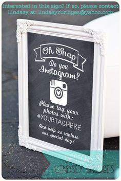 Instagram wedding chalkboard sign made by Lindsey Bridges Designs! If you're interested in this sign, contact Lindsey at: lindseyrbridges@yahoo.com And to check out more of Lindsey Bridges Designs, follow this link: https://www.facebook.com/pages/Lindsey-Bridges-Designs/778546178832455?ref_type=bookmark