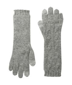 POLO RALPH LAUREN POLO RALPH LAUREN - CASHMERE CABLE TOUCH GLOVES (FAWN  GREY HEATHER)