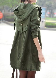 Pocket Zipper Up Hooded Collar Army Green Coat on sale only US$46.43 now, buy cheap Pocket Zipper Up Hooded Collar Army Green Coat at liligal.com