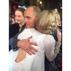 Jennifer Lawrence & Woody Harrelson hugging at the Mockingjay Part 2 premiere in Paris