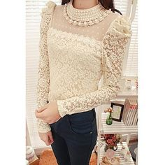 Women's Beaded Collar Lace Embroidery Puff Sleeve Blouse - USD $ 21.59