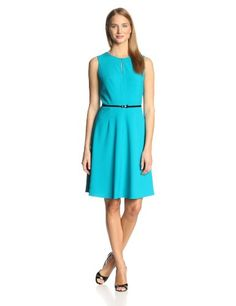 Calvin Klein Women's Sleeveless Belted Flare Dress, Lagoon blue from Boscovs April 3, 2015