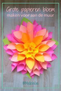Grote papieren bloem maken voor aan de muur Diy And Crafts, Crafts For Kids, Jungle Party, Paper Flower Tutorial, Paper Flowers, Greenery, Paper Art, Flora, Planter Pots