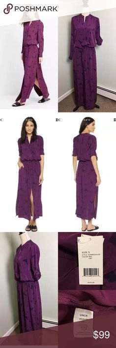 "VINCE Drawstring Maxi Long Shirtdress Dress Fabric: 100% Silk  side slits side pockets Split V neckline with concealed button placket Elasticated drawstring waistband Long sleeves with button-tabs.  Unlined. Laying Flat:  Length 58"" from shoulder Vince Dresses Maxi"