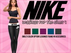 Nike leggings with five different color choices that can be found in the accessory section! Found in TSR Category 'Sims 4 Female Athletic'