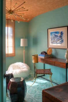 Copper Gyer Design - dens/libraries/offices - Dunn Edwards - Barrier Reef - copper colored ceiling, painted ceiling, turquoise walls, turquo...