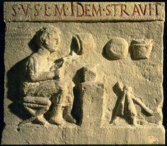 Craftsman making a vase, relief, Roman, 2nd century (stone). Museo della Civilta Romana, Rome, Italy