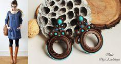 """Earrings """"ShokoBoho"""" soutache, coconut, govlity, Japanese seed beads, Czech glass. beads"""