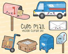 Haut de gamme Vector Clipart - Clipart Mail de Kawaii - Kawaii Post Clip art Set - haute qualité vecteurs - Instant Download - Kawaii Clipart