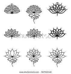Set ornamental lotus flower vector illustrtation tattoo, patterned Indian paisley