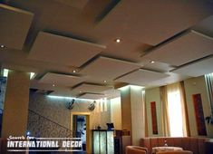 Acoustic ceiling the best way to protection against noise, see acoustic ceiling tiles, panels, acoustic ceiling designs and how to install this type of false ceiling Gypsum Design, Gypsum Ceiling Design, Ceiling Light Design, False Ceiling Design, Lighting Design, Ceiling Lights, Ceiling Ideas, Acoustic Ceiling Tiles, Acoustic Panels