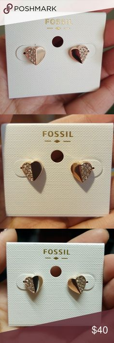 Fossil Rose Gold heart Earrings/ Studs Fossil Rose Gold heart Earrings/ studs  New never used   Material: Stainless Steel Color: Rose Gold   Beautiful earrings, not much of a jewelry wearer so they've just been sitting in my jewelry box. Would make the perfect gift for someone ( mother's day,  birthday)  or a treat for yourself  Fossil Jewelry Earrings