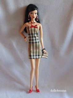DRESS PURSE & JEWELRY fits Model Muse Body Barbie dolls clothes Fashion Burberry-type fabric $15.00 on eBay - DOLLS4EMMA
