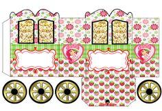 Strawberry Shortcake: Cajas con forma de Carruaje para Imprimir Gratis.