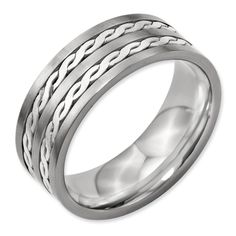 Jewel Tie Titanium Sterling Silver Braided Inlay 8mm Brushed and Antiqued-Style Wedding Band