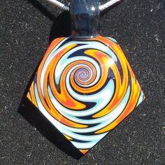 """Flame"" $40.00 Glass Pendant www.kauffyglass.com"
