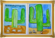 Watercolor cactus art project I did with my Kindergarten class for Father's Day.