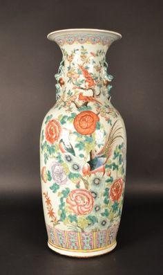 "Chinese Famille Rose Vase Size : 23.5"""