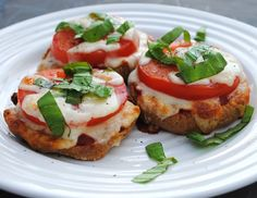 Bagel pizzas with fresh basil - Olivia loves these! And so do I ;)