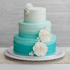 Publix Ombre Encore Wedding Cake Change colors to cream to soft yellow to soft orange ombre. Teal Cake, Ombre Cake, Publix Wedding Cake, Publix Cakes, Publix Birthday Cakes, Peacock Wedding Cake, Teal Wedding Cakes, Blue Wedding, Casual Wedding