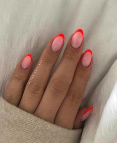 Aycrlic Nails, Chic Nails, Oval Nails, Stylish Nails, Gel Manicures, Colorful French Manicure, Summer French Manicure, Colored French Nails, Acrylic French Manicure