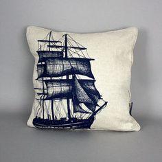 Hand Printed Linen Packet Ship Cushion - cushions