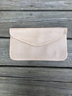 Vintage Beige Perforated Clutch by LittleMisVintage on Etsy
