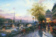 Thomas Kinkade Paris, Eiffel Tower print for sale. Shop for Thomas Kinkade Paris, Eiffel Tower painting and frame at discount price, ships in 24 hours. Thomas Kinkade Disney, Thomas Kinkade Art, Eiffel Tower Painting, Kinkade Paintings, Artwork Paintings, Thomas Kincaid, Hotel Des Invalides, Paris Painting, Nature
