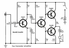 6 Watt Four Transistor Amplifier Dc Circuit, Circuit Diagram, Electronic Engineering, Electrical Engineering, Diy Electronics, Electronics Projects, Radio Design, Electric Circuit, Electronic Schematics