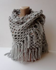 SALE 25 OFF Handcrocheted shawlgray fashion women by seno on Etsy, $65.00