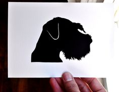 Giant Schnauzer - Hand-cut Silhouette Mounted on 5 x 7 Watercolor Paper. $15.00, via Etsy.