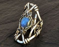 Silver Gothic Ring Wire Wrapped Ring Oxidized Ring Chunky