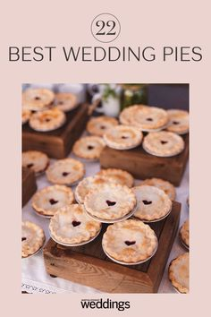 If you don't like cake, but still want wedding dessert - pies are the perfect wedding cake alternative. Whether you stick to the classic fruit pies or get unique with mini key lime pies, your guests are sure to love this trendy twist of wedding desserts. Mini Wedding Cakes, Country Wedding Cakes, Wedding Pies, Wedding Desserts, Mini Desserts, Delicious Desserts, Pie Wedding Cake, Boho Wedding, Mini Key Lime Pies