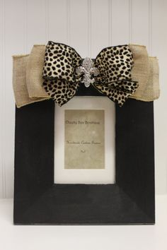 5 x 7 black handpainted frame with burlap and cheetah bow via Etsy