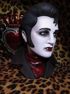 Vampire Rockin Dead Ceramic Bust by missluckyhellcatart on Etsy, $100.00