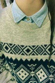 Sweater !! Cool teen fashion inspiration : button shirt under sweater