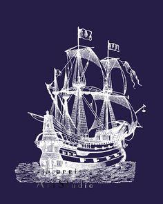 Nautical art print - Vintage ship - white silhouette - dark Navy blue - Boys room - gift for men - sailor art - beach house - maritime theme. $9.99, via Etsy.